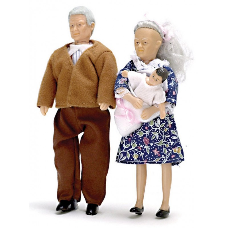 Dolls House People Grandma Grandad & Baby Grandparents Miniature Modern
