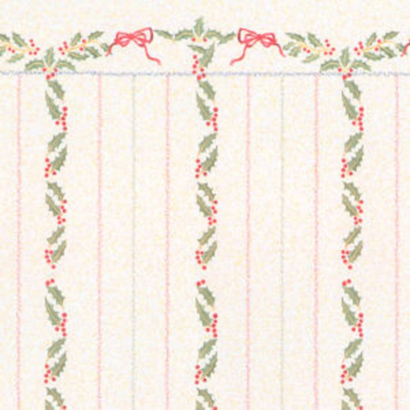 Melody Jane Dolls House Miniature Print Christmas Holly Berries Stripe Wallpaper