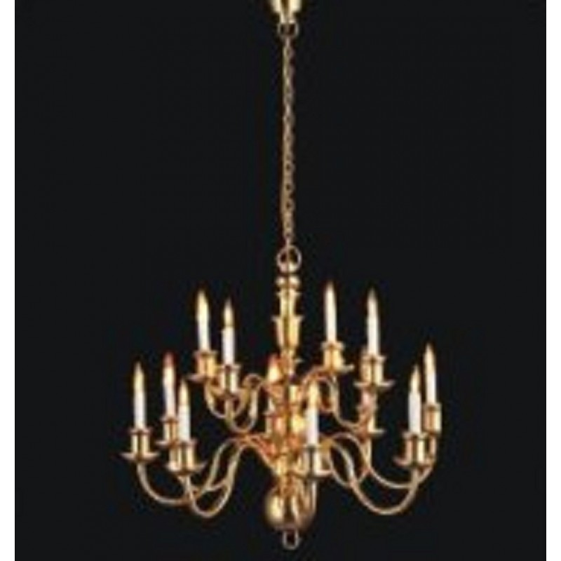 Melody Jane Dolls House Elite 12 Arm Brass Chandelier Candle Bulbs Miniature