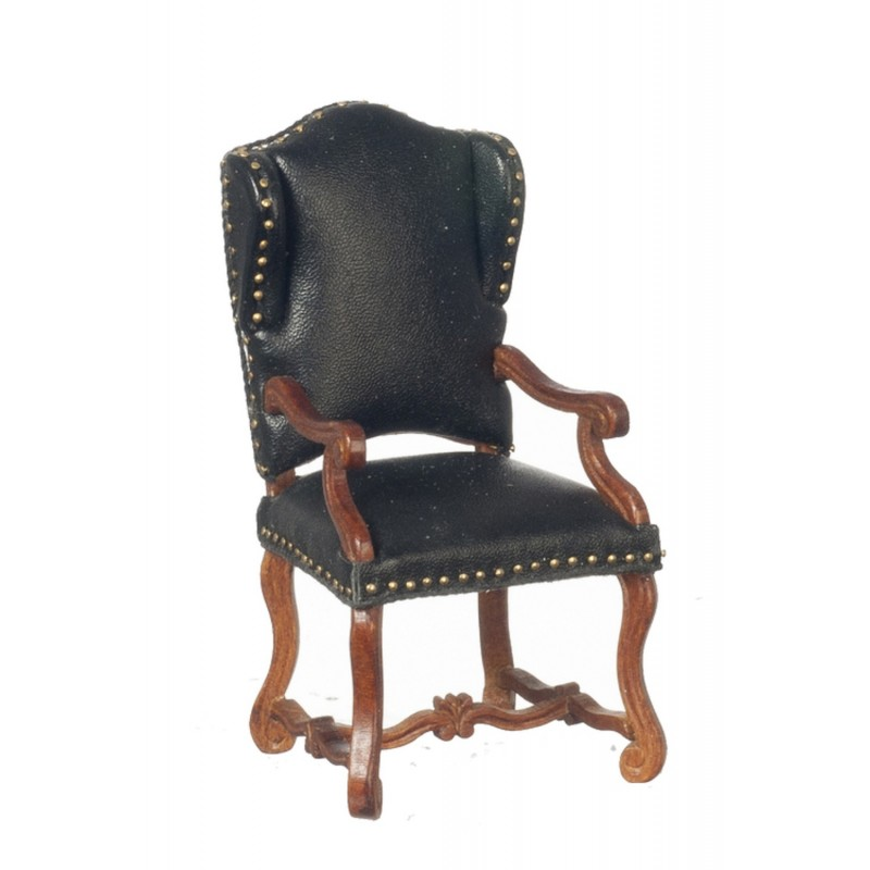 Dolls House Walnut Black Leather Spanish Wing Arm Chair Miniature JBM Furniture