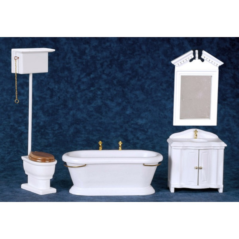 Dolls House Old Fashioned White Bathroom Suite