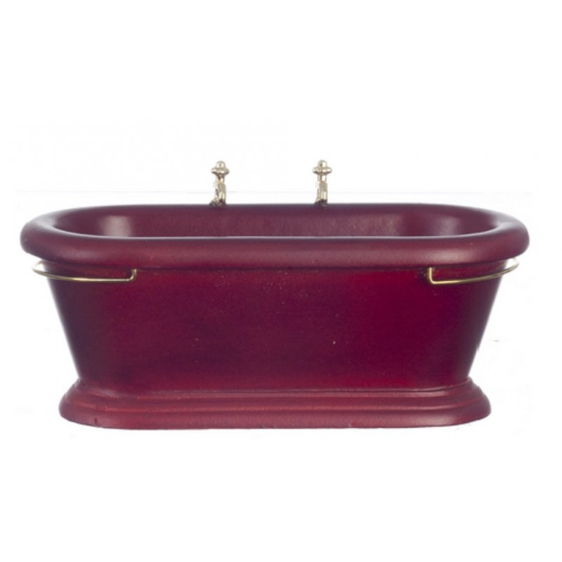 Dolls House Miniature Bathroom Furniture Old Fashioned Mahogany Wooden Bath Tub