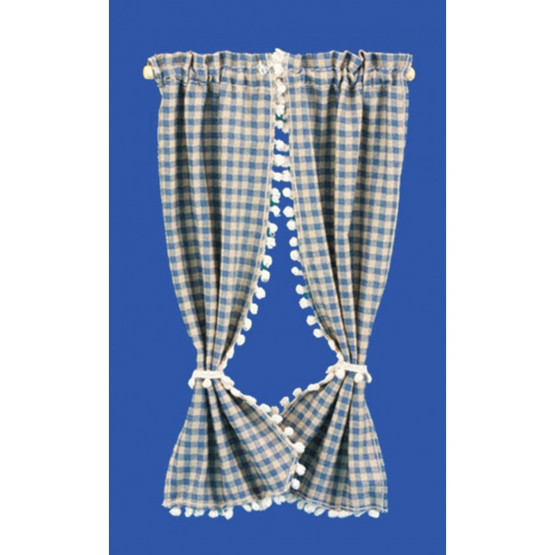 Dolls House Blue Beige Check Curtains Drapes