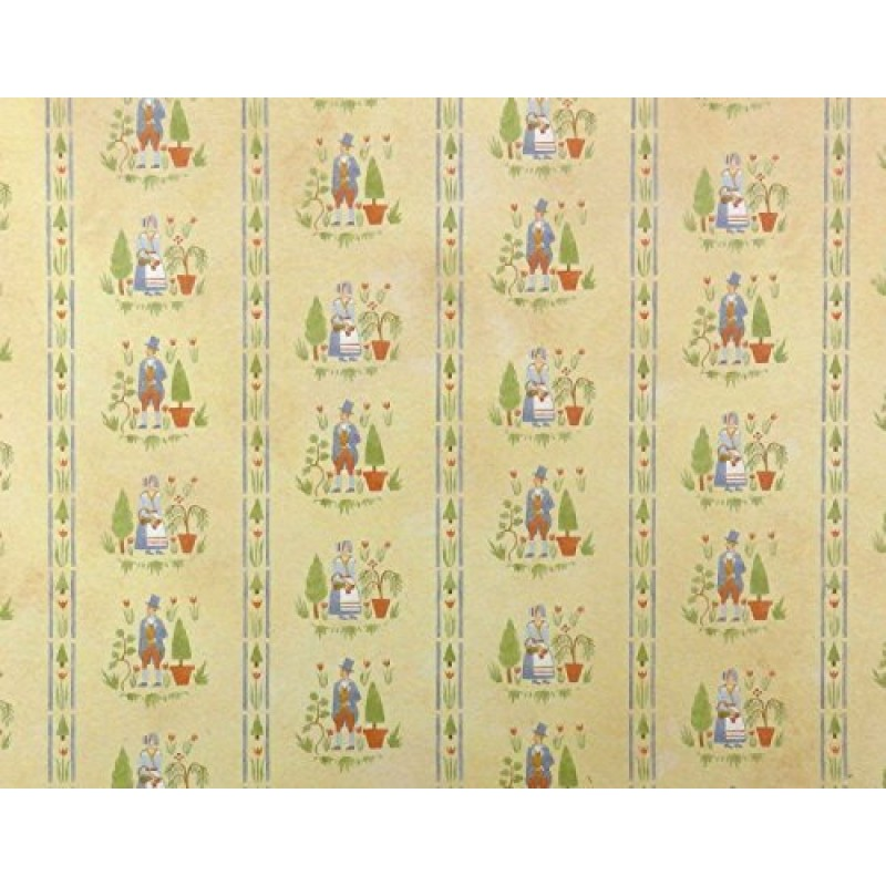 Dolls House American Colonial Gardens Miniature Print 1:12 Scale Wallpaper