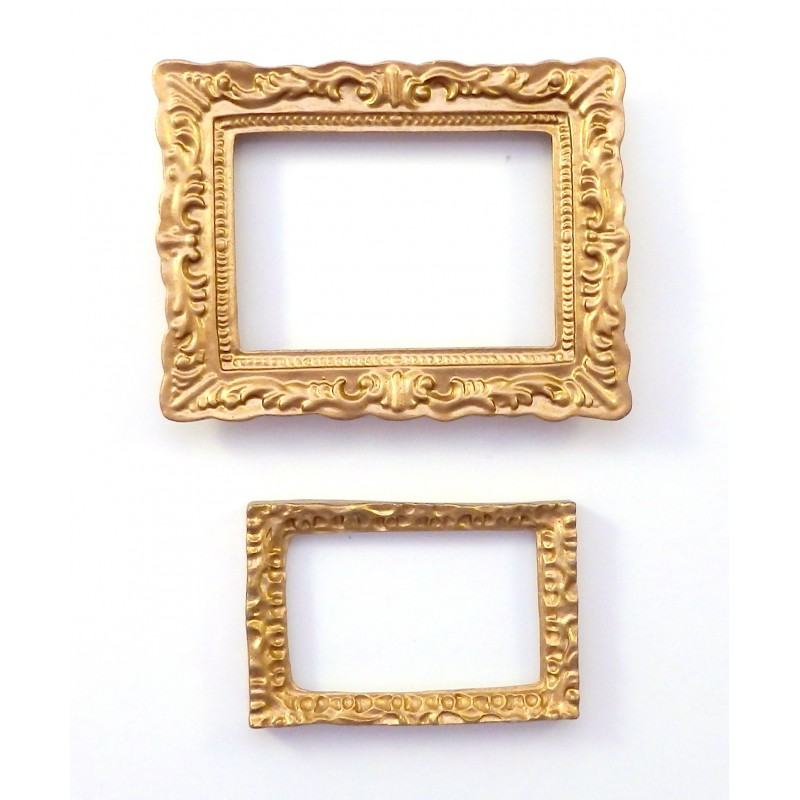 2 Empty Dolls House Gold Picture Painting Frames Rectangular Miniature Accessory