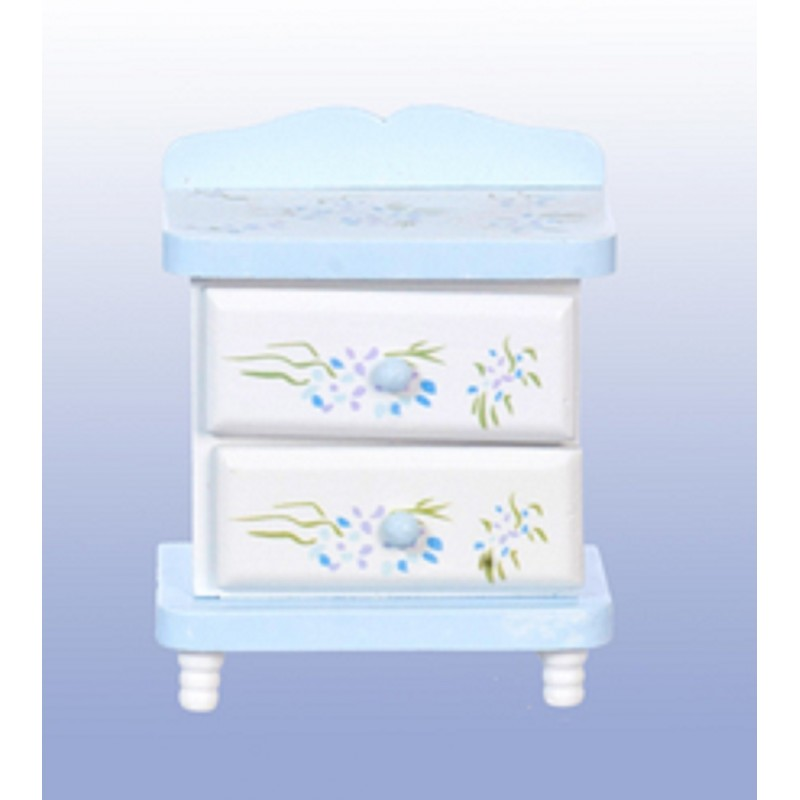 Dolls House Hand Painted Blue Violet Bedside Chest Miniature Bedroom Furniture