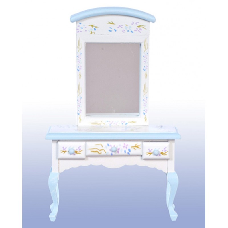 Dolls House Hand Painted Blue Violet Dressing Table Miniature Bedroom Furniture