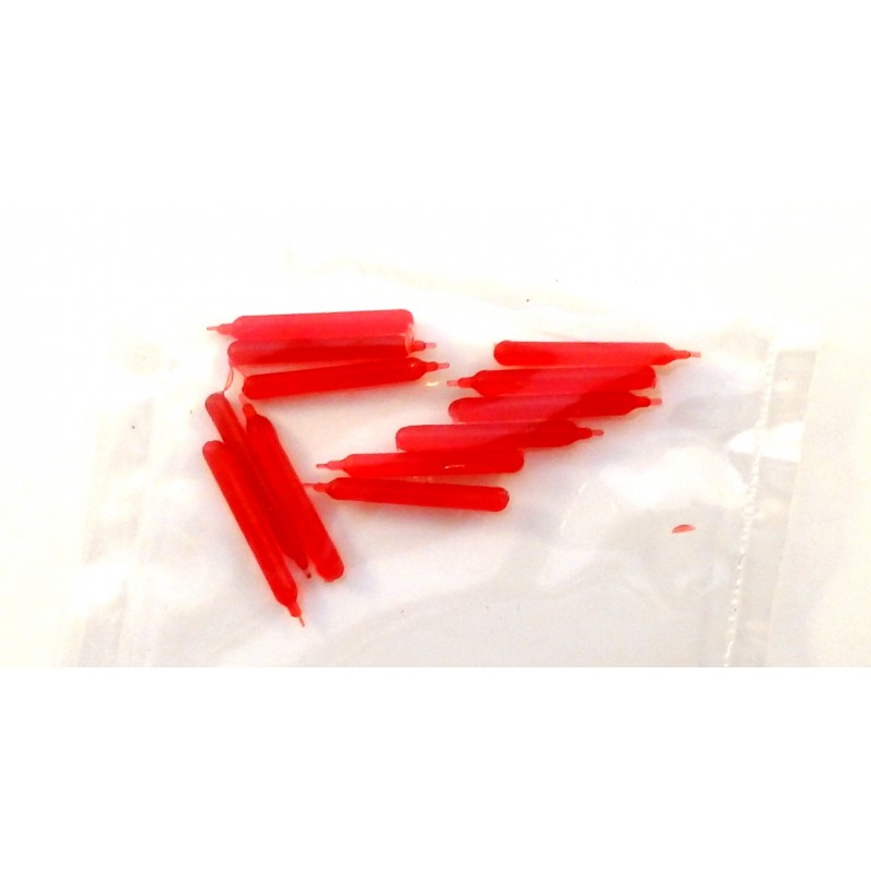 Dolls House 12 Miniature Red Candles Plastic Candlestick Candelabra Accessory