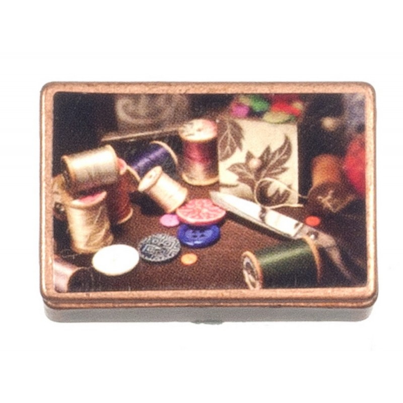 Dolls House Full Old Fashioned Copper Sewing Box Miniature Accessory