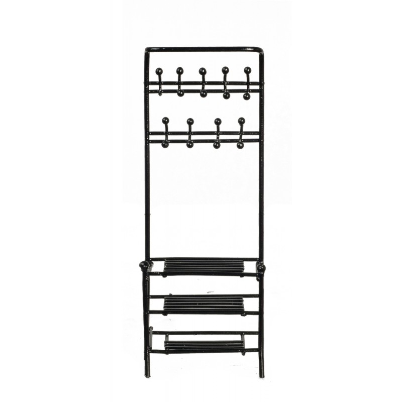 Dolls House Black Hall Stand Hat & Coat Shelf Unit Miniature Furniture Metal