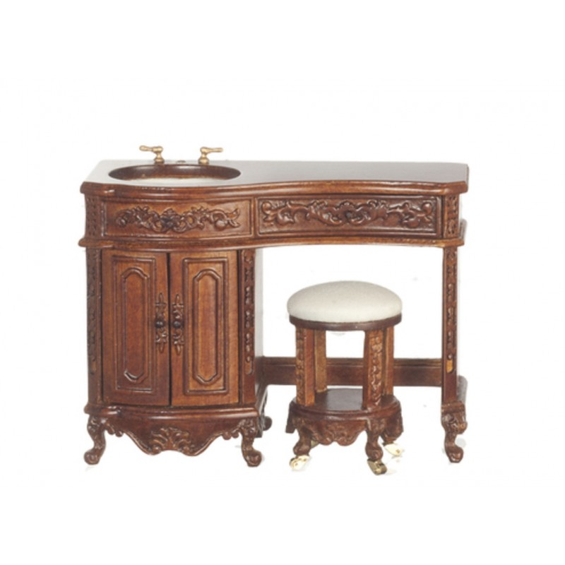 Dolls House Walnut Avalon Sink & Stool Platinum Collection Bathroom Furniture