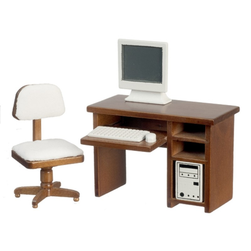 walnut computer desk chair study office furniture set