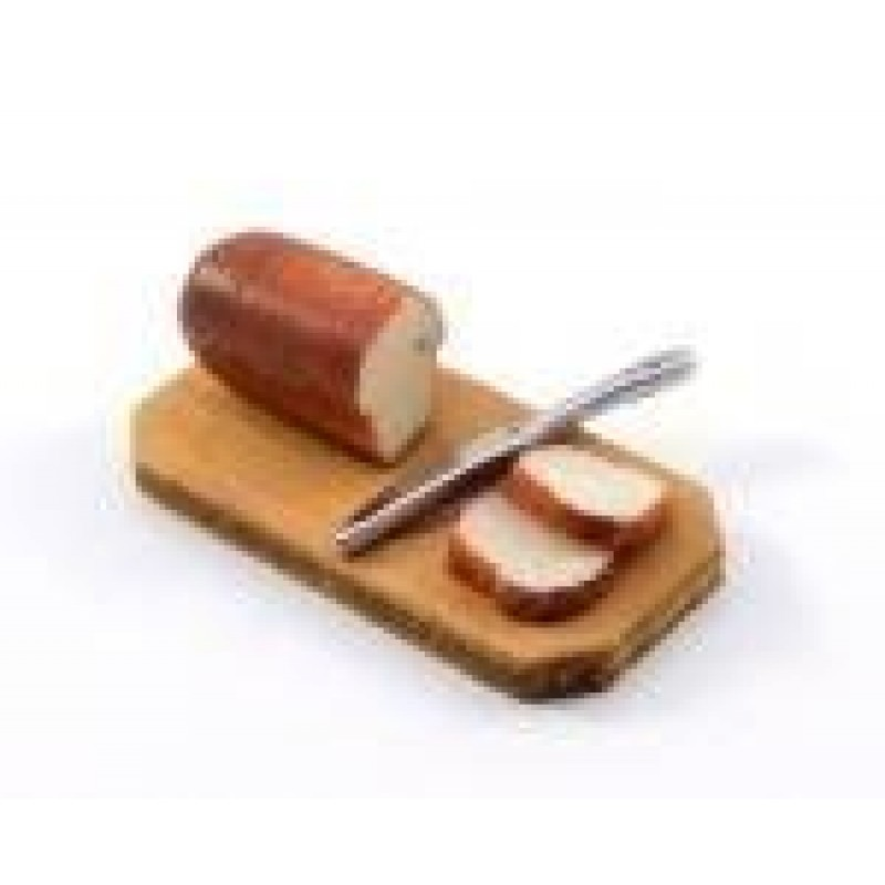 Dolls House Slicing Tin Loaf on Bread Board Miniature 1:12 Kitchen Accessory