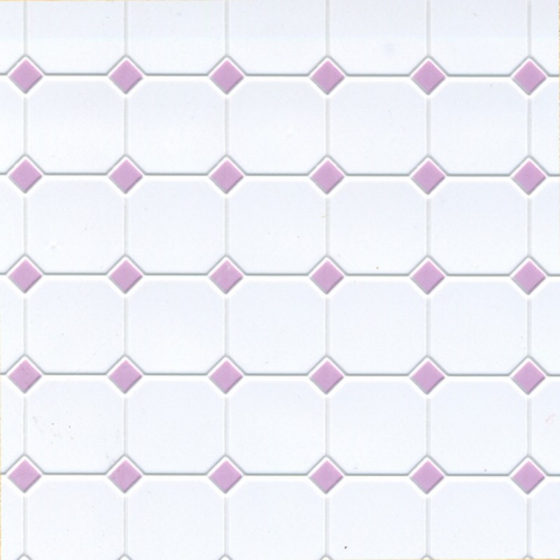 Dolls House Lilac White Moulded Plastic Tile Flooring Sheet Miniature 1:12 Scale