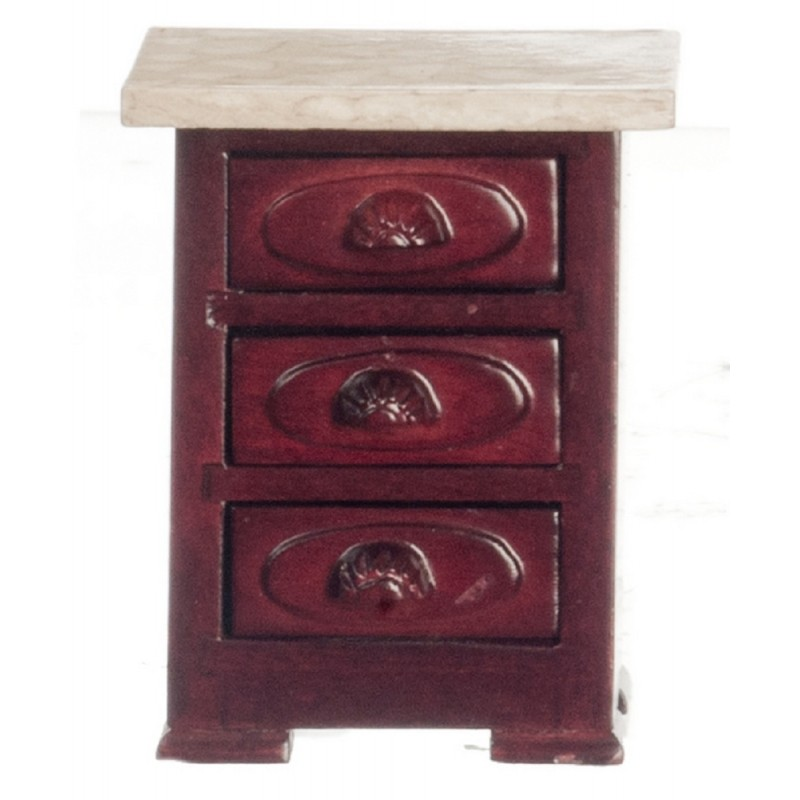Dolls House Miniature Furniture Victorian Mahogany Marble Top Bedside Chest