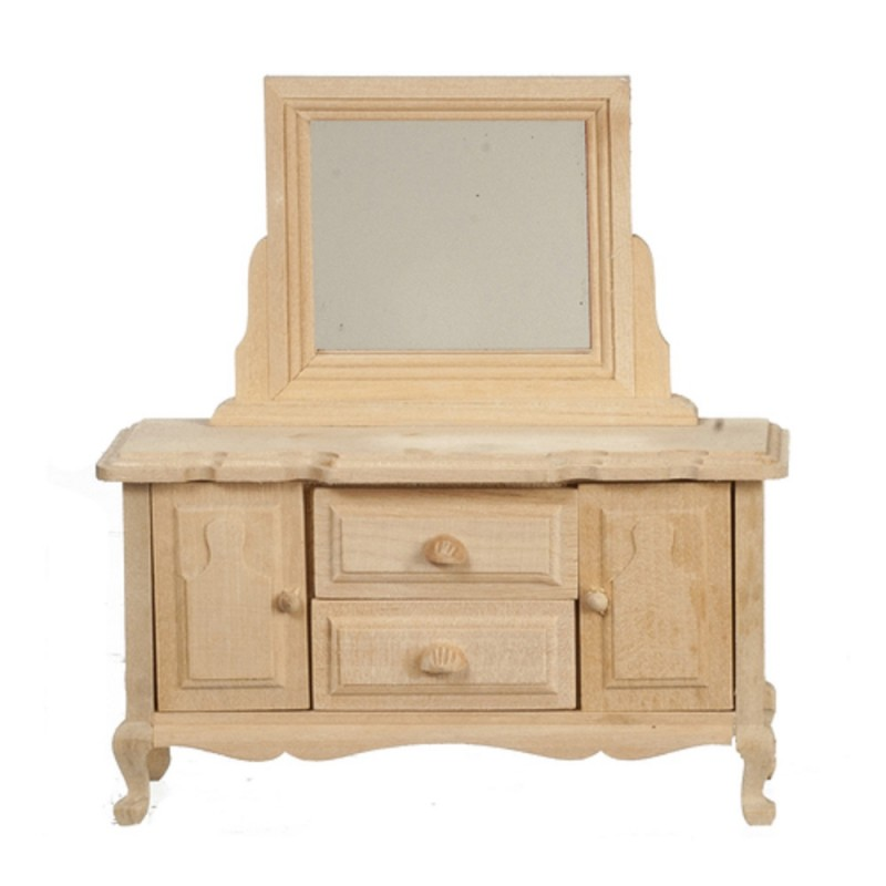 Dolls House Dressing Table Unfinished Bare Wood Miniature Bedroom Furniture