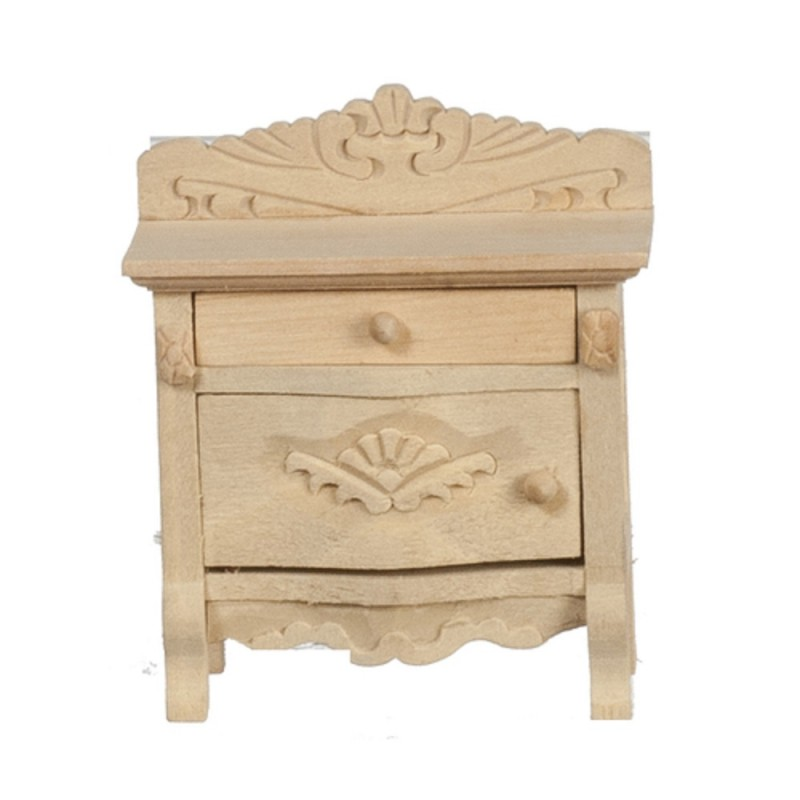 Dolls House Bedside Chest Unfinished Bare Wood Miniature Bedroom Furniture