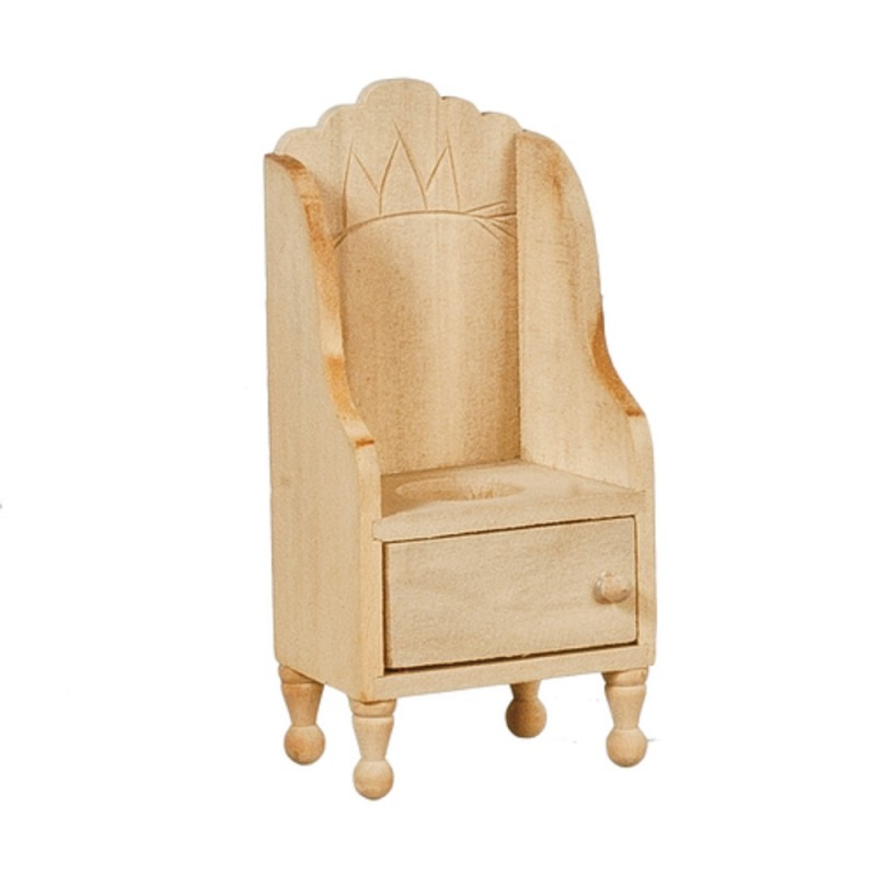 Dolls House Victorian Potty Chair Unfinished Bare Wood Miniature Furniture