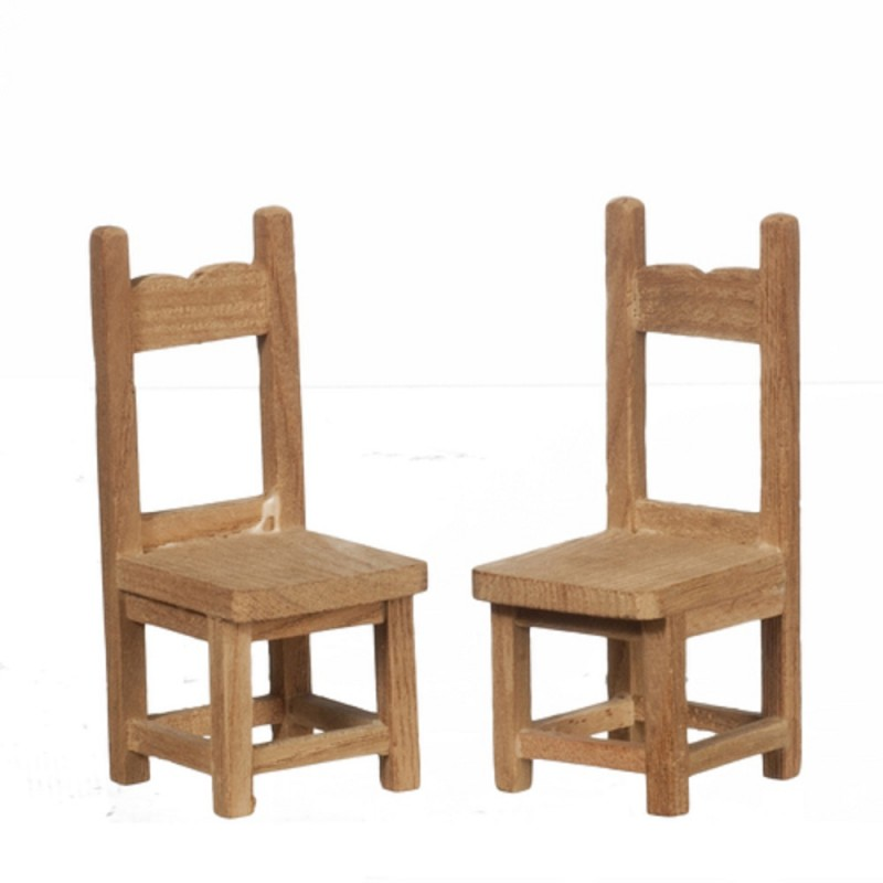Dolls House 2 Side Chair Unfinished Bare Wood Miniature Dining Room Furniture B