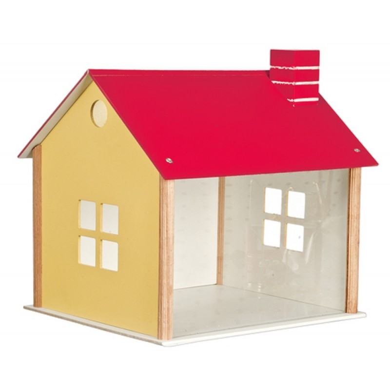 Dolls House Display Room Shadow Box with Roof & Perspex Front Flat Pack