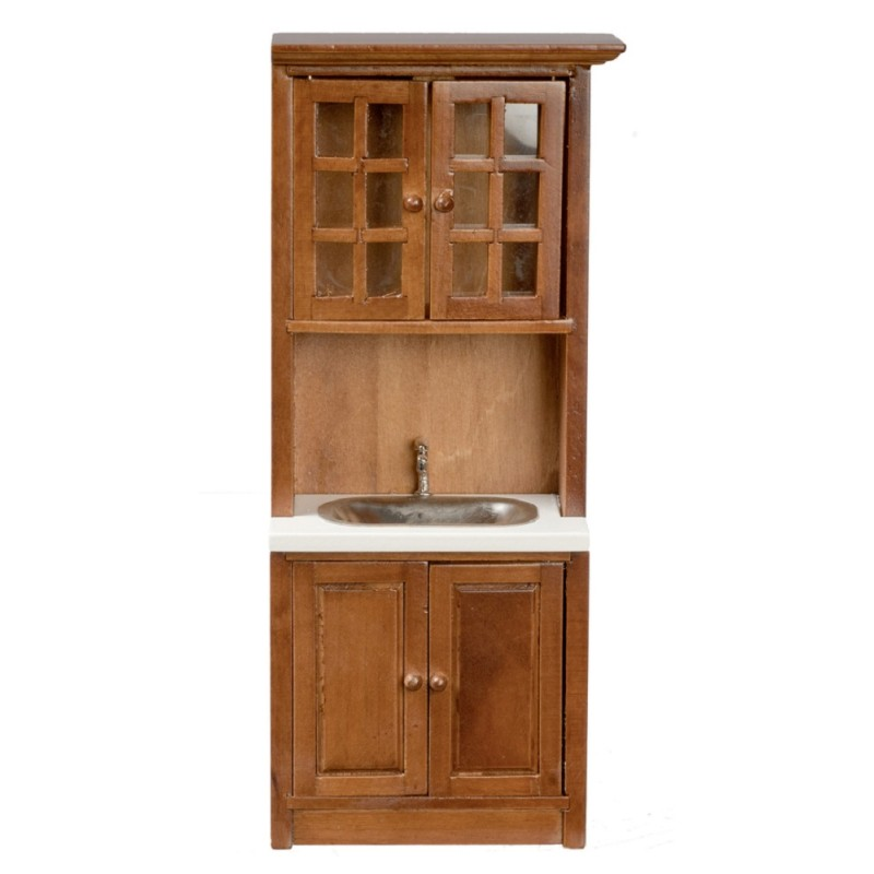 Dolls House Walnut Cabinet with Sink Unit Miniature Fitted Kitchen Furniture