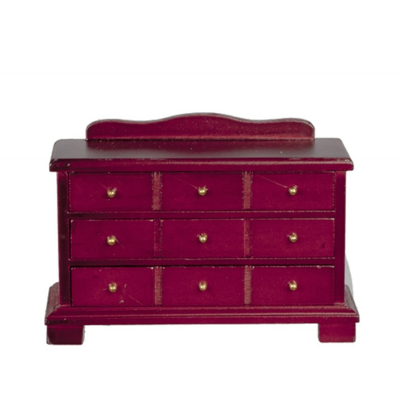 Dolls House Mahogany Chest of Drawers Miniature Bedroom Furniture