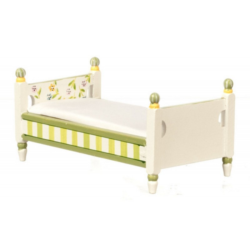Dolls House Hand Painted Springtime Single Bed Miniature Bedroom Furniture