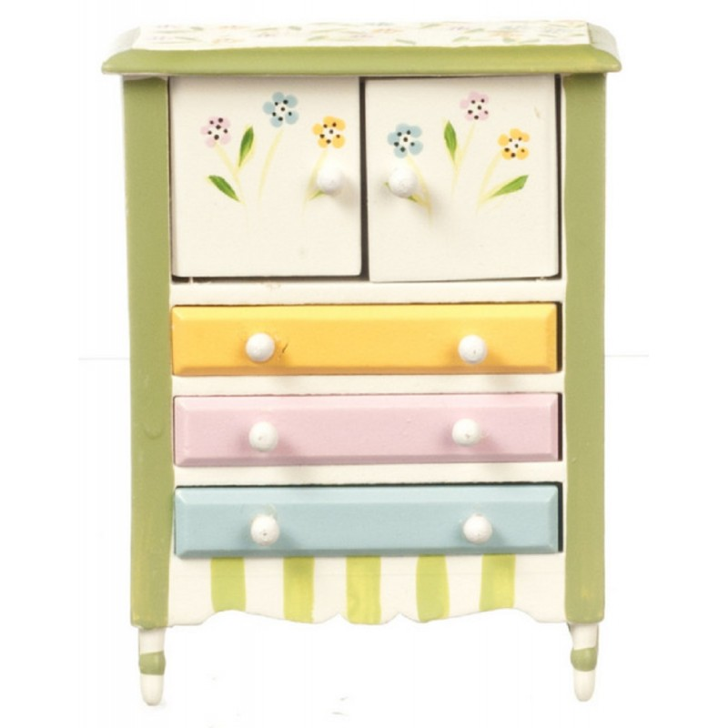 Dolls House Springtime Cupboard Dresser Miniature Hand Painted Bedroom Furniture