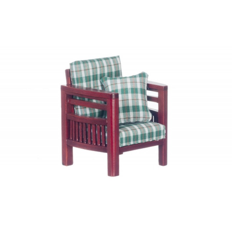 Dolls House Mahogany Green Check Family Room Armchair Lounge Furniture