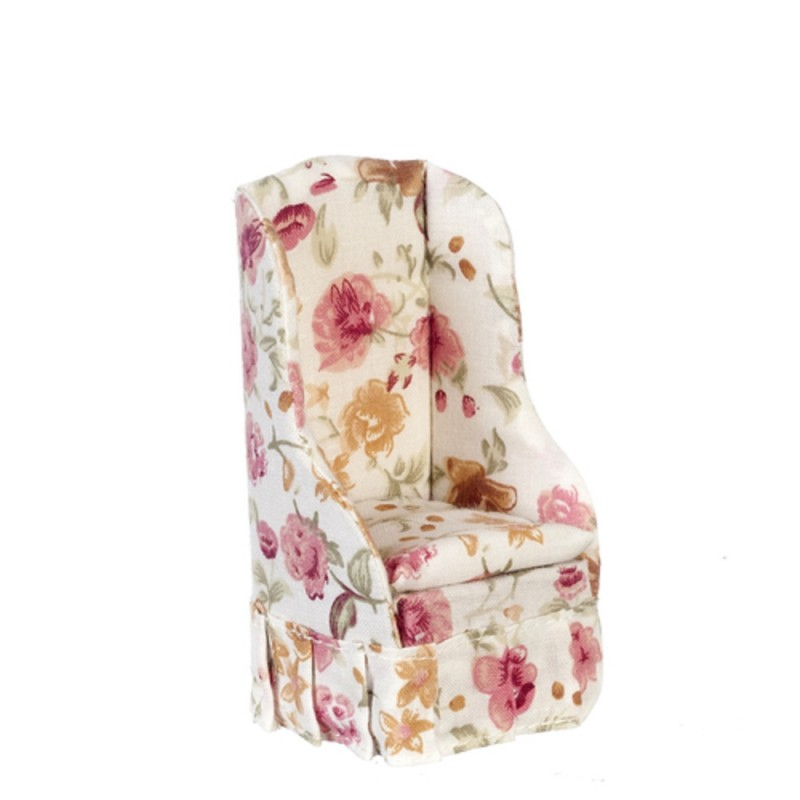 Dolls House Rose Floral Armchair Miniature Country Chintz Living Room Furniture