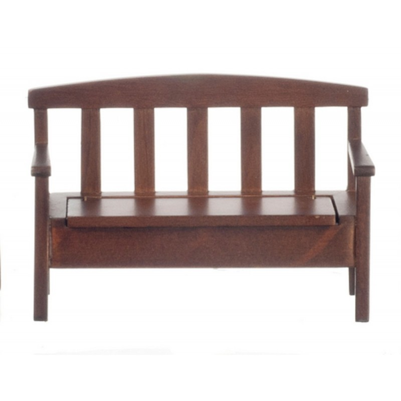 Dolls House Dark Oak Bench with Storage Seat Miniature Garden Patio Furniture