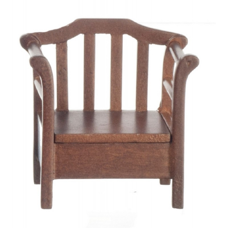 Dolls House Dark Oak Chair with Storage Seat Miniature Garden Patio Furniture
