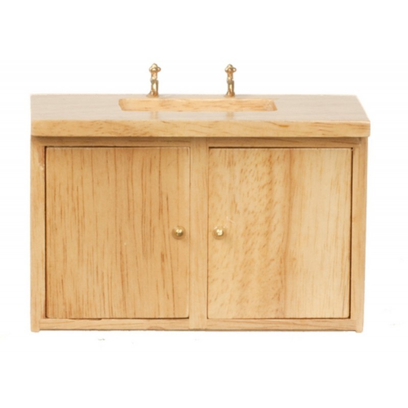Dolls House Light Oak Sink Unit with Double Doors Miniature Kitchen Furniture