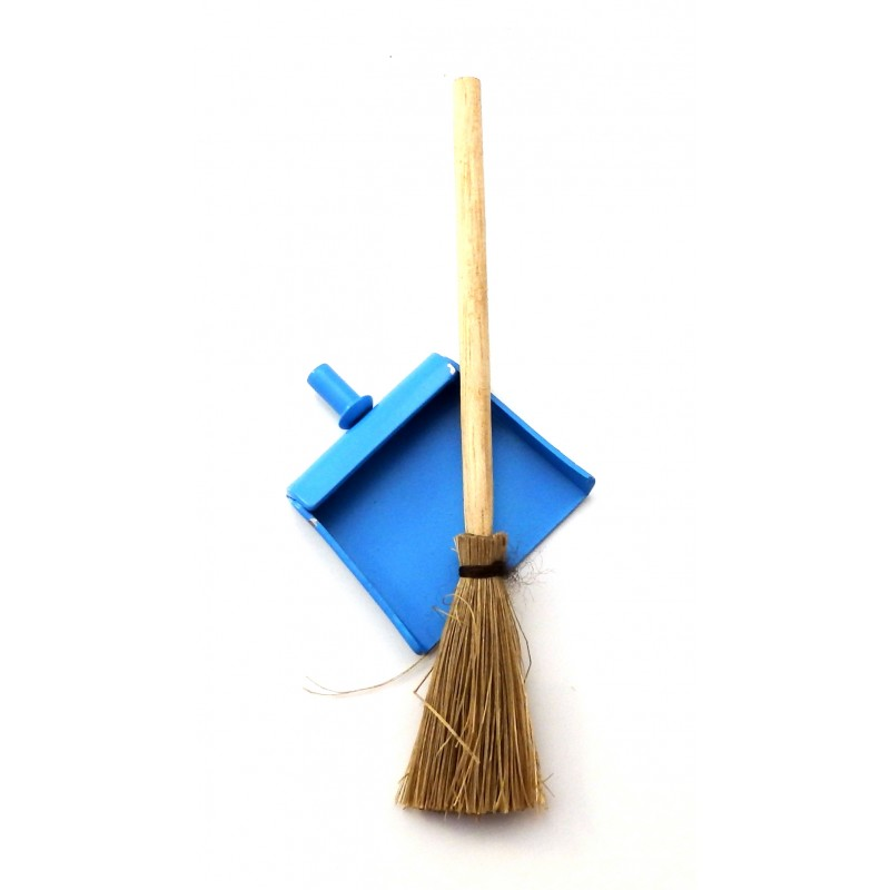 Dolls House  Dustpan & Brush Besom Broom Miniature Kitchen Cleaning Accessory