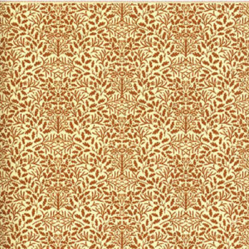 Dolls House Brown on Cream Acorns Wallpaper William Morris Design