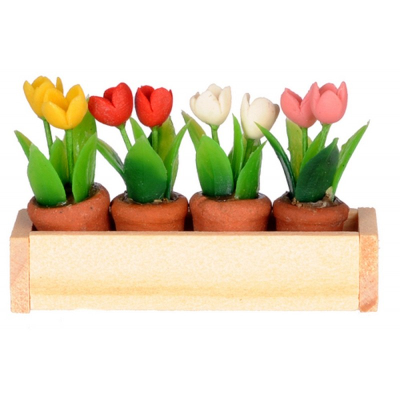TULIPS IN TERRA COTTA POT DOLLHOUSE MINIATURES 1:12 SCALE by Falcon Miniatures