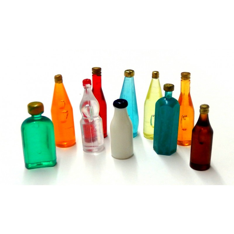 Dolls House 10 Mixed Coloured Bottles A Kitchen Pub Shop Accessory