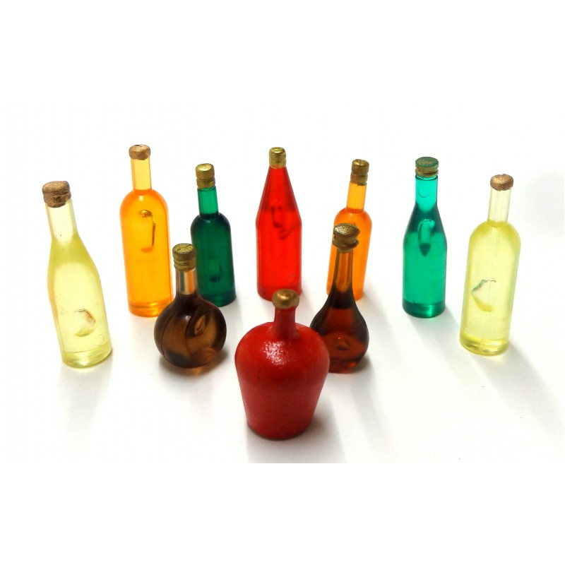 Dolls House 10 Mixed Coloured Bottles B Kitchen Pub Shop Accessory