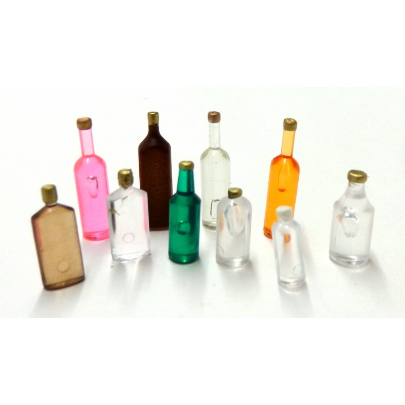 Melody Jane Dolls House 10 Mixed Coloured Bottles C Kitchen Pub Shop Accessory
