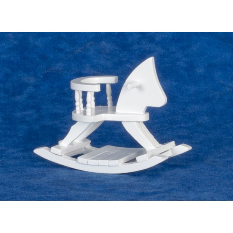 Dolls House Sit On White Wooden Rocking Horse 1:12 Nursery Accessory