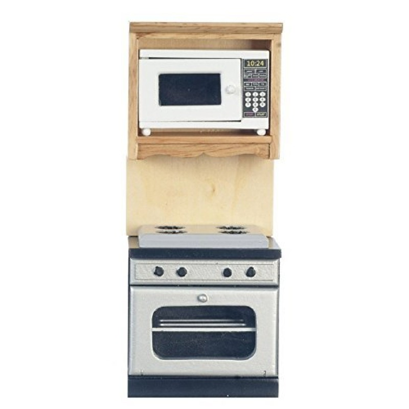 Dolls House Light Oak Fitted Unit Oven Hob Microwave Miniature Kitchen Furniture