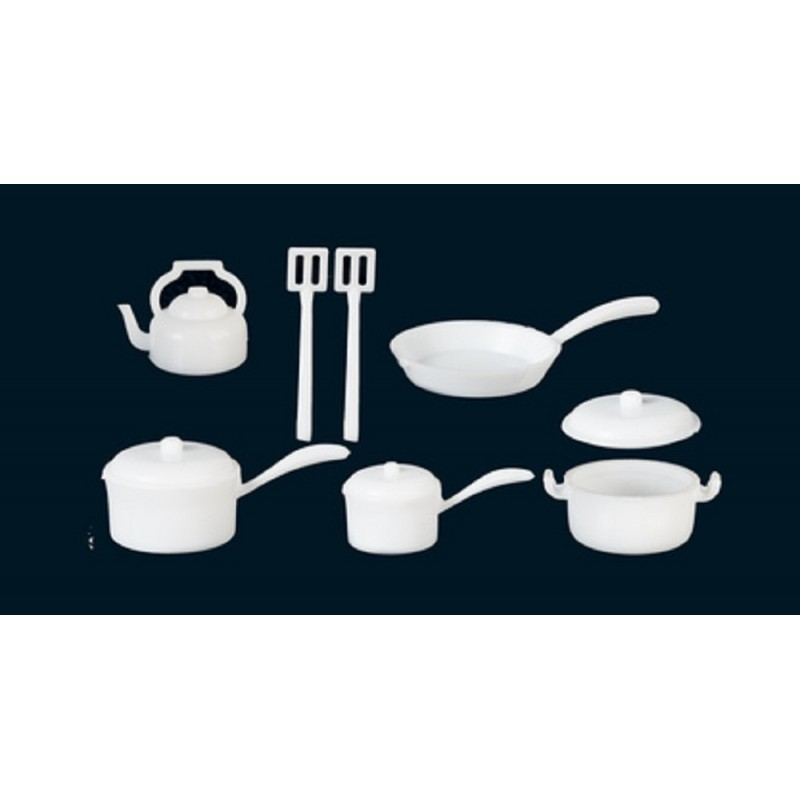 Dolls House White Saucepan Pan Set Miniature Kitchen Accessory