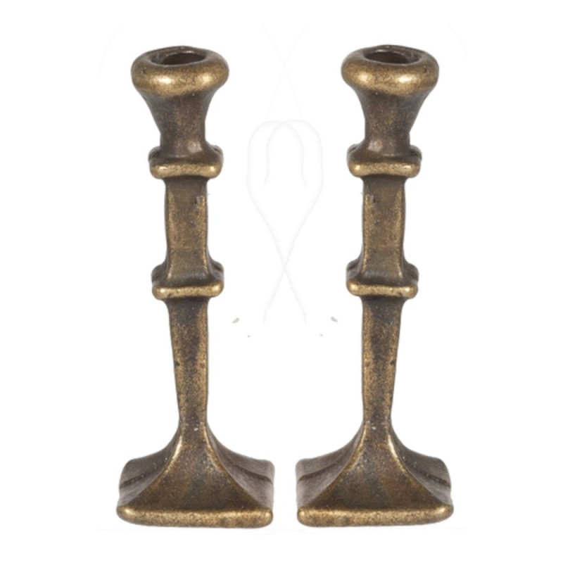 Dolls House 2 Antique Brass Candlesticks Square Base Miniature 1:12