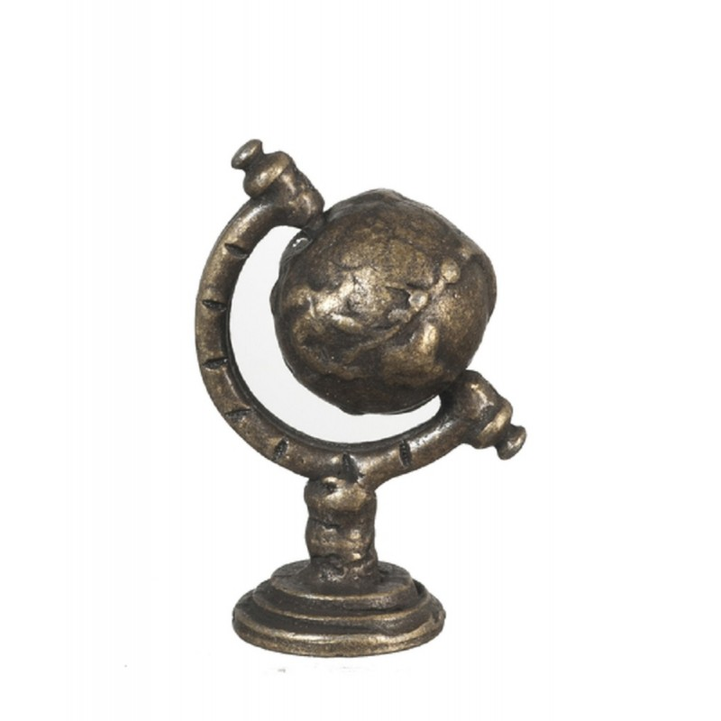Dolls House Small Antique Brass World Globe Miniature Study Ornament