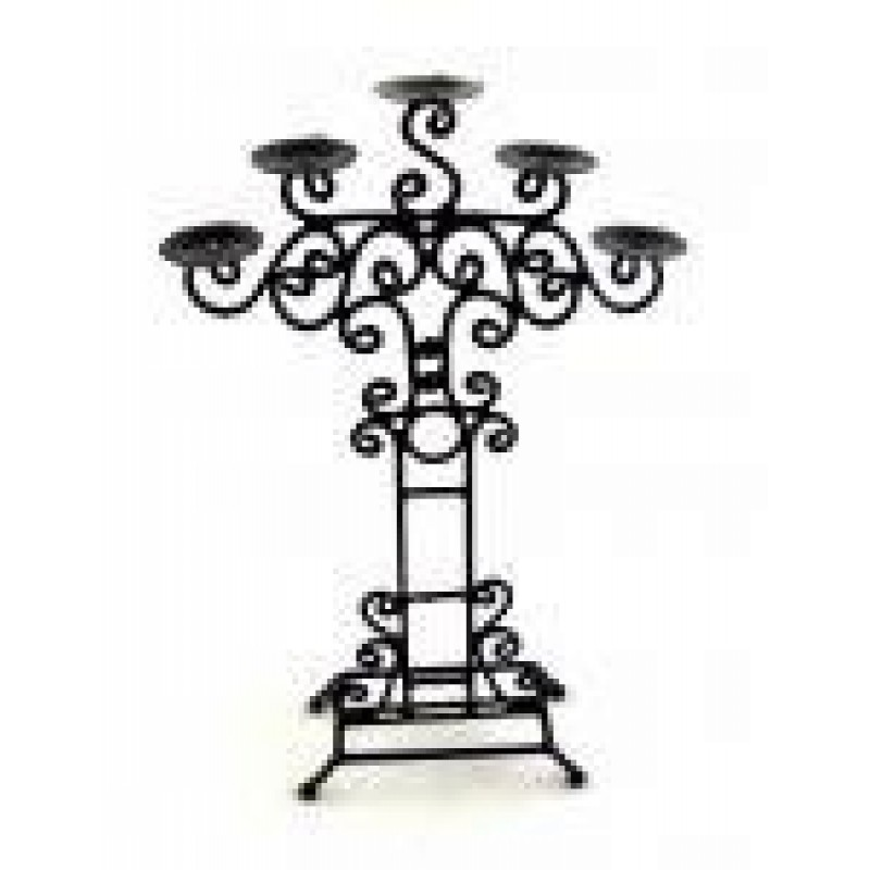 Dolls House Miniature Accessory Floor Standing Wrought Iron Candle Holder Stand