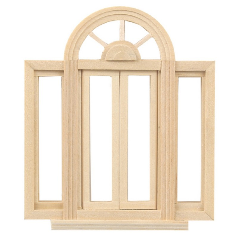 Dolls House Circle Top Double Casement Window 1:24 Half Scale