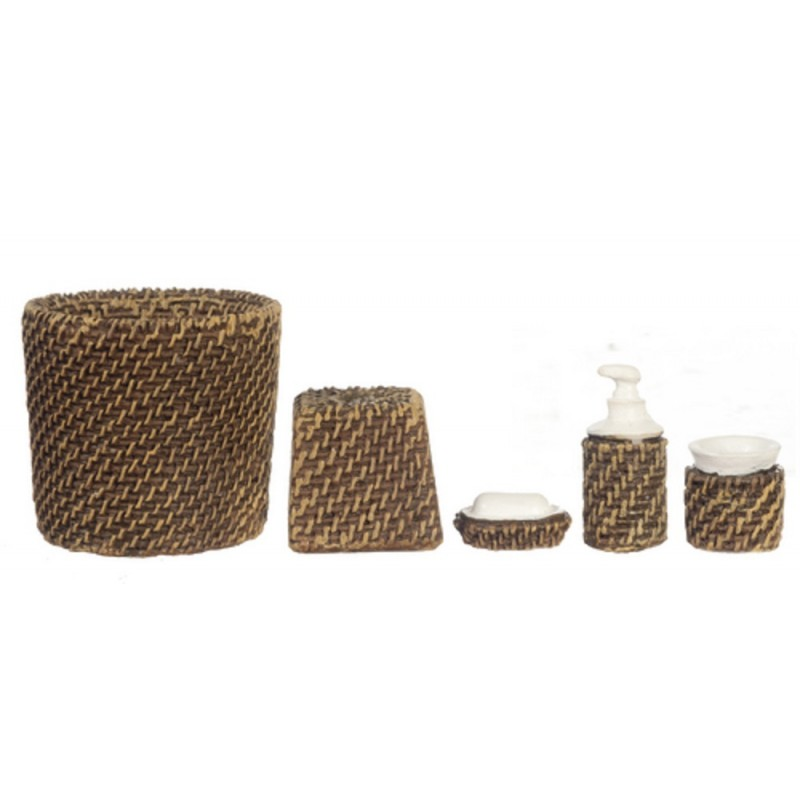 Dolls House Miniature Modern Wicker Bathroom Accessory Set Bin Soap Tumbler 5 pc