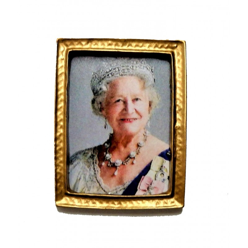Dolls House The Queen Mother Elizabeth Portrait Picture Gold Frame