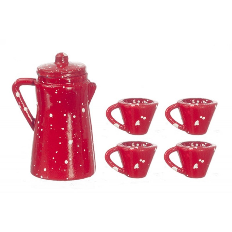 Dolls House Red Spot Coffee Pot & Mugs Miniature Kitchen Accessory