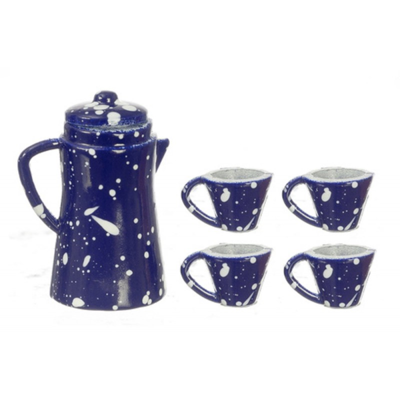 Dolls House Blue Spot Coffee Pot & Mugs Miniature Kitchen Accessory